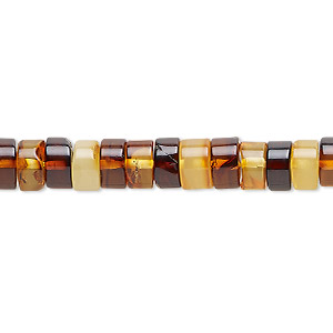 bead, baltic amber (heated), light to dark, 7x2mm-7x6mm hand-cut heishi, c grade, mohs hardness 2 to 2-1/2. sold per 16-inch strand.