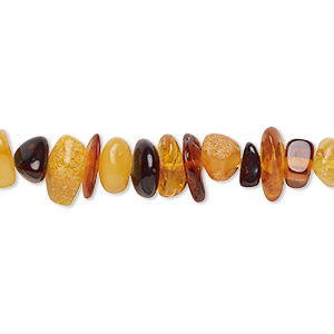 bead, baltic amber (heated), medium chip, b grade, mohs hardness 2 to 2-1/2. sold per 16-inch strand.