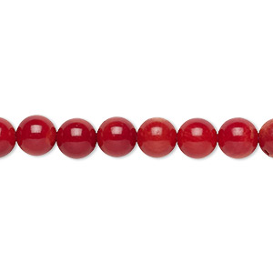 bead, bamboo coral (dyed), dark red, 5-6mm round, c grade, mohs hardness 3-1/2 to 4. sold per 16-inch strand.