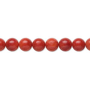 bead, bamboo coral (dyed), medium to dark red, 6-7mm round, b grade, mohs hardness 3-1/2 to 4. sold per 16-inch strand.
