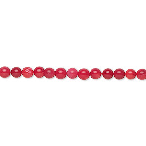 bead, bamboo coral (dyed), red, 2.5-3mm hand-cut round with 0.3-0.6mm hole, b grade, mohs hardness 3-1/2 to 4. sold per 16-inch strand.