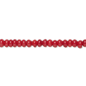 bead, bamboo coral (dyed), red, 4x3mm hand-cut rondelle with 0.9-1.1mm hole, b- grade, mohs hardness 3-1/2 to 4. sold per 16-inch strand.
