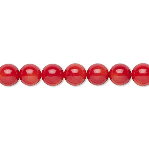 bead, bamboo coral (dyed), red, 7-8mm hand-cut round with 0.5-0.9mm hole, b grade, mohs hardness 3-1/2 to 4. sold per 16-inch strand.