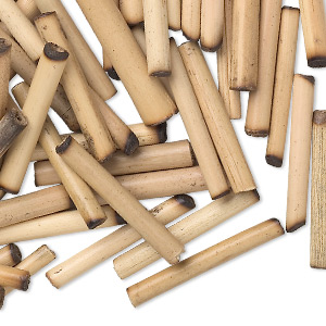bead, bamboo (natural), 23x3mm-28x4mm round tube. sold per pkg of 100.