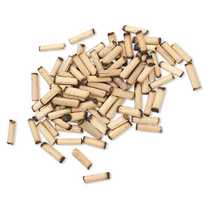 bead, bamboo (natural), 7x2mm-9x3mm round tube. sold per pkg of 100.