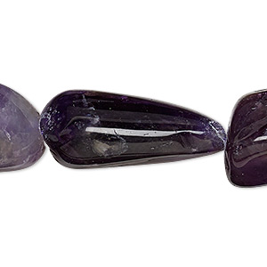 bead, banded amethyst (natural / dyed), medium to extra-large tumbled nugget, mohs hardness 7. sold per 32-inch strand.