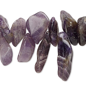 bead, banded amethyst (natural / dyed), small to extra-large top-drilled nugget, mohs hardness 7. sold per 15-inch strand.