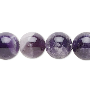 bead, banded amethyst (natural), 14mm round, b grade, mohs hardness 7. sold per 16-inch strand.