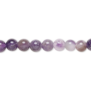 bead, banded amethyst (natural), 6mm round, b grade, mohs hardness 7. sold per 16-inch strand.