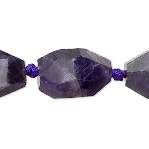 bead, banded amethyst (natural), large faceted nugget, mohs hardness 7. sold per 16-inch knotted strand.