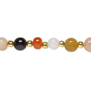 bead, beggar, multi-gemstone (natural / dyed / heated), multicolored, 5-9mm hand-cut tumbled round with 0.4-1.4mm hole, c grade. sold per 28-inch strand.