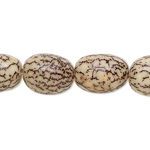 bead, betel nut (waxed), 15x10mm oval. sold per 16-inch strand.