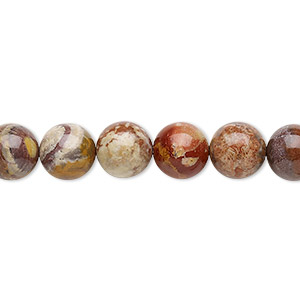 bead, birdseye rhyolite (natural), 8mm round, b grade, mohs hardness 6-1/2 to 7. sold per 16-inch strand.