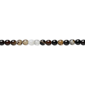 bead, black agate (dyed), 3mm round, b grade, mohs hardness 6-1/2 to 7. sold per 16-inch strand.