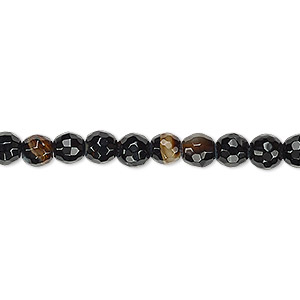 bead, black agate (dyed), 5-6mm faceted round, b grade, mohs hardness 6-1/2 to 7. sold per 15-inch strand.