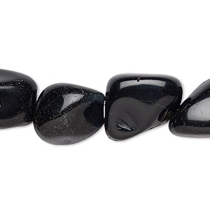 bead, black agate (dyed), medium tumbled nugget, mohs hardness 6-1/2 to 7. sold per 28-inch strand.