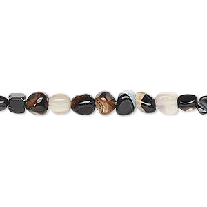 bead, black agate (dyed), small pebble, mohs hardness 6-1/2 to 7. sold per 16-inch strand.