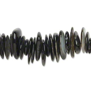 bead, black lip shell (natural), extra-large chip, mohs hardness 3-1/2. sold per 16-inch strand.