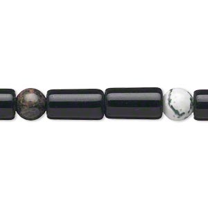 bead, black obsidian (natural), 14x7mm-15x8mm round tube and 5-8mm round, c grade, mohs hardness 5 to 5-1/2. sold per 16-inch strand.