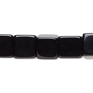 bead, black onyx (dyed), 10x10mm cube, b grade, mohs hardness 6-1/2 to 7. sold per 16-inch strand.