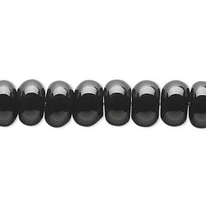 bead, black onyx (dyed), 10x6mm rondelle, b grade, mohs hardness 6-1/2 to 7. sold per 16-inch strand.
