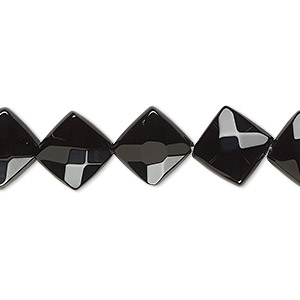 bead, black onyx (dyed), 12x12mm faceted diamond, b grade, mohs hardness 6-1/2 to 7. sold per 16-inch strand.