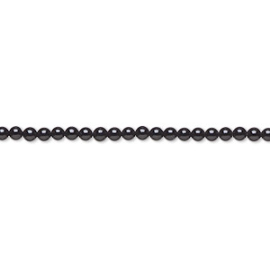 bead, black onyx (dyed), 2mm round, a- grade, mohs hardness 6-1/2 to 7. sold per 16-inch strand.