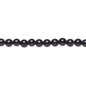 bead, black onyx (dyed), 4mm round, a- grade, mohs hardness 6-1/2 to 7. sold per 16-inch strand.