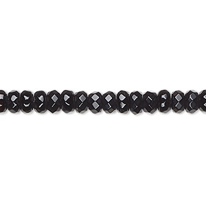 bead, black onyx (dyed), 5x3mm faceted rondelle, b grade, mohs hardness 6-1/2 to 7. sold per 16-inch strand.