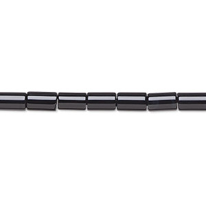 bead, black onyx (dyed), 6x4mm round tube, b grade, mohs hardness 6-1/2 to 7. sold per 16-inch strand.