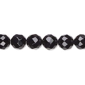bead, black onyx (dyed), 8mm faceted round, a- grade, mohs hardness 6-1/2 to 7. sold per 16-inch strand.