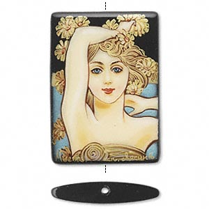 bead, black onyx (dyed), multicolored, 36x26mm single-sided puffed rectangle with hand-painted art nouveau-inspired lady with arm up design, mohs hardness 6-1/2 to 7. sold individually.