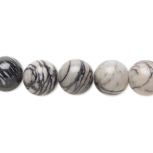bead, black silk stone (natural), 10mm round, c grade, mohs hardness 4. sold per 16-inch strand.