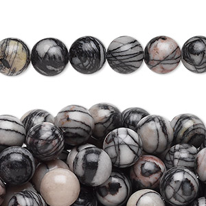 bead, black silk stone (natural), 8mm round, c grade, mohs hardness 4. sold per pkg of (10) 16-inch strands.