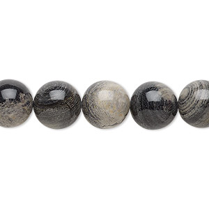 bead, black silver leaf jasper (natural), 10mm round with 0.5-1.5mm hole, b grade, mohs hardness 6-1/2 to 7. sold per 16-inch strand.