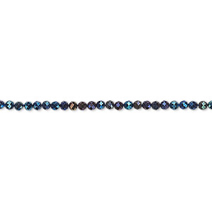 bead, black spinel, (coated), blue, 2mm hand-cut faceted rondelle, b grade, mohs hardness 8. sold per 13-inch strand.
