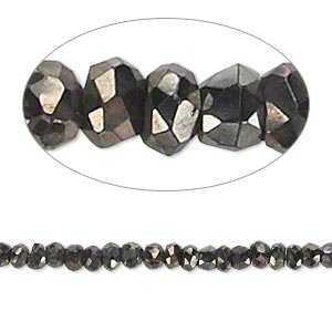 bead, black spinel (coated), dark gold gunmetal, b- grade, mohs hardness 8. sold per 13-inch strand.