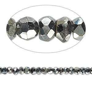 bead, black spinel (coated), silver gunmetal, 3x2mm-4x3mm hand-cut faceted rondelle, c grade, mohs hardness 8. sold per 13-inch strand.