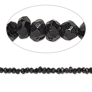 bead, black spinel (natural), 2x1mm-3x2mm hand-cut faceted rondelle, c grade, mohs hardness 8. sold per 13-inch strand.