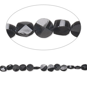 bead, black spinel (natural), 3-5mm hand-cut faceted flat round, b+ grade, mohs hardness 8. sold per 16-inch strand.