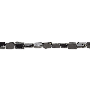 bead, black spinel (natural), 3x3mm-5x3mm hand-cut flat rectangle, c- grade, mohs hardness 8. sold per 14-inch strand.