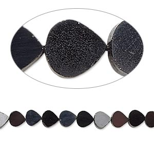 bead, black spinel (natural), 5-6mm hand-cut flat teardrop, c grade, mohs hardness 8. sold per 14-inch strand.