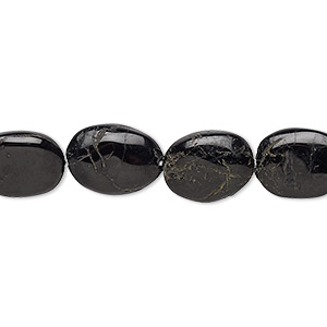 bead, black tourmaline (natural), 10x9mm-15x11mm hand-cut flat oval, c grade, mohs hardness 7 to 7-1/2. sold per 13-inch strand.