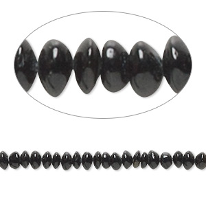 bead, black tourmaline (natural), 3x1mm-5x3mm hand-cut saucer, c- grade, mohs hardness 7 to 7-1/2. sold per 14-inch strand.