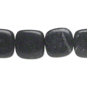bead, blackstone (dyed), 14x14mm-15x15mm rounded flat square, c- grade, mohs hardness 6-1/2 to 7. sold per 15-inch strand.
