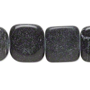 bead, blackstone (dyed), 18x18mm-19x19mm rounded flat square, c- grade, mohs hardness 6-1/2 to 7. sold per 15-inch strand.