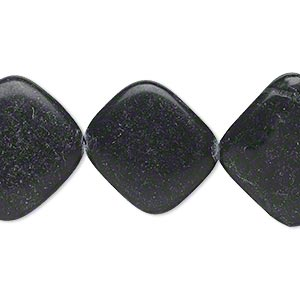 bead, blackstone (dyed), 20x20mm-25x25mm rounded flat diamond, c- grade, mohs hardness 6-1/2 to 7. sold per 15-inch strand.