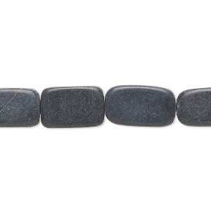 bead, blackstone (dyed), matte, 11x8mm-19x11mm rounded flat rectangle, c grade, mohs hardness 6-1/2 to 7. sold per 15-inch strand. minimum 3 per order.