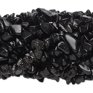 bead, blackstone (dyed), medium chip with 0.5-1.5mm hole, mohs hardness 6-1/2 to 7. sold per pkg of (10) 34-inch strands.