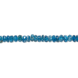 bead, blue apatite (natural), 3x2mm-4x3mm hand-cut faceted rondelle, c grade, mohs hardness 5. sold per 14-inch strand.